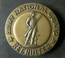 """ARMY NATIONAL GUARD RECRUITER BADGE BRONZE USED GOOD CONDITION L.S. GI 2"""" x 2"""""""