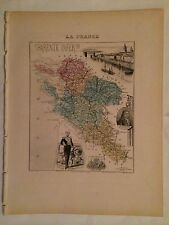 GRAVURE DEPARTEMENT 17 CHARENTE INFERIEUR 1883 MIGEON CARTE MAP MARITIME