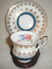 Vintage QUEENS Rosina Fine Bone China Gilded Tea Cup & Saucer Made in England