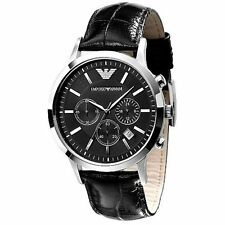 Authentic Emporio Armani AR-2447,Black Strap Black Dial Choronograph Men's Watch