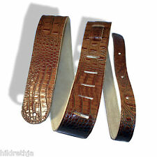 """Guitar Strap 2"""" Crocodile Embossed Leather, Extra Long, Brown (Tan), US Made"""