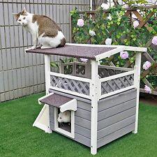Patio Cat Houses Condo Shelter Wood Habitats Weatherproof Pet Furniture Outdoor