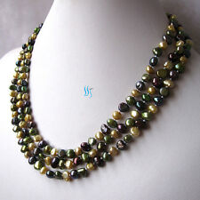 "55"" 5-6mm Champagne Dark Green Peacock Baroque Freshwater Pearl Necklace"