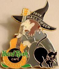 Hard Rock Cafe YOKOHAMA 1998 HALLOWEEN PIN Witch with Guitar & Cat HRC #10604