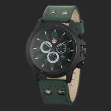 Para Hombres Clásicos Fecha Reloj Sumergible Cuero Sport Cuarzo Reloj Militar