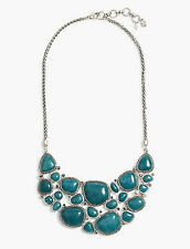 LUCKY BRAND Silver-Tone Green Stone Statement Necklace JLRY6848 NWT