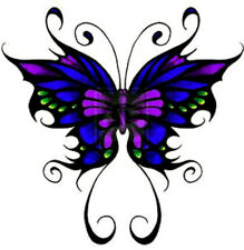 20 WATER SLIDE NAIL ART DECALS TRANSFERS DARK PURPLE TRIBAL BUTTERFLY