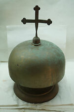VINTAGE CHURCH ALTAR SANCTUS GONG BELL BRONZE TABLETOP CROSS RELIGIOUS