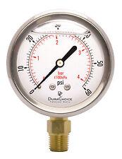 """2-1/2"""" Oil Filled Pressure Gauge - SS/Br 1/4"""" NPT Lower Mount 60PSI"""
