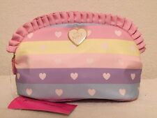 Betsey Johnson Large Rainbow Hearts Ruffle Cosmetic Case Clutch Bag NWT