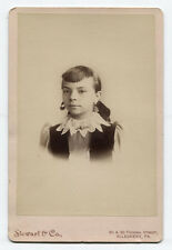 CABINET CARD GIRL WITH STAR BURST COLLAR. ALLEGHENY CITY, PA.