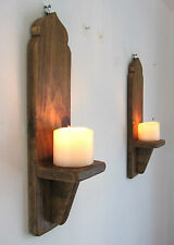 PAIR OF 40CM RECLAIMED WOOD MOROCCAN DOME WALL SCONCE CANDLE HOLDER