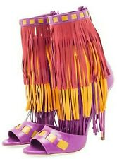 BRIAN ATWOOD 'ABBY' FRINGED PURPLE MULTI LEATHER HIGH HEEL SANDALS (size:8)