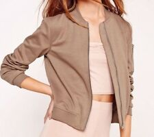 MISSGUIDED Taupe Mocha Brown Nude Cotton Ponte Zip Detail Petite Bomber Jacket S