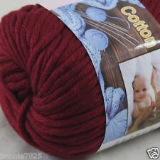 Sale New 1 Skein x 50g Soft 100% Cotton Chunky Super Bulky Hand Knitting Yarn 36