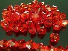 Christmas Red Faceted Bicone Crystal Glass Beads 6mm A Grade