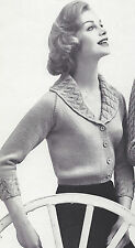 Vintage Knitting PATTERN to make Cable Collar Cardigan Sweater Jacket CableColla