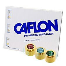 Caflon Ear Piercing CZ Birthstone Earrings Gold Plated 12 Pairs Sterilized Studs
