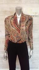 VTG GUCCI Maroon Sheer Chiffon Paisley Print Long Sleeve Bodysuit Blouse LARGE