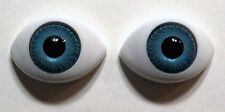 Acrylic 22 mm Oval Doll Eyes - Blue - New Old Stock - NOS