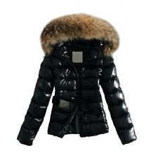 Winter Womens Thick Faux Fur Collar Hooded Coat Down Jacket Quilted Padded Parka