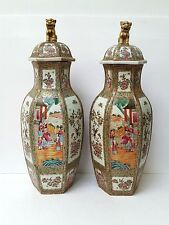 Antique Pair of Chinese Cantonese Hexagonal Vases with Lids