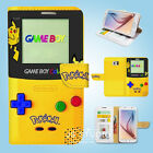 Samsung Galaxy S3 4 5 6 Edge Plus Note Wallet Case Cover Pokemon Gameboy W082