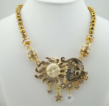 KIRKS FOLLY DARK & STORMY MAGNETIC INTERCHANGEABLE NECKLACE ANTIQUE GOLDTONE