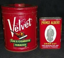 Vintage Velvet And Prince Albert Pipe Tobacco Tins
