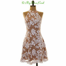 DRESS THE POPULATION 'ABBIE' SEQUIN HALTER MINI DRESS BROWN WHITE SMALL B85