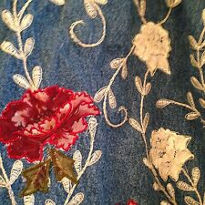 Denim & Co 1X Denim Jacket Embroidered Lace Roses Floral Career Casual  2P