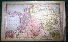 Columbia & Venezuela - Rare Original 1900 Rand McNally Antique Color Atlas Map