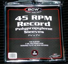 "100 Clear Plastic 45 RPM Outer Sleeves 2 Mil High Quality 7"" Vinyl Record Covers"