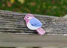 Ceramic Bird Pin Pinback Brooch Hand Painted Pink Blue White Sparrow 1 5/8""