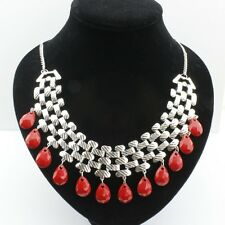 Red drop chandelier chain necklace
