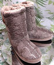 MUK LUKS BROWN KNIT SLIPPER ANKLE BOOTS FASHION STOCKINGS SHOES US WOMENS SZ 5 6