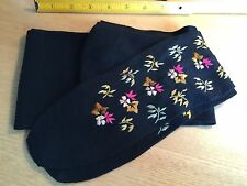 ANTIQUE / VINTAGE LADIES EMBROIDERED SILK COTTON BLACK STOCKINGS -NEW WITH TAG