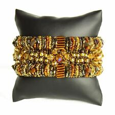 BR180-103 Magnetic Clasp Bugle Beads Czech Amber Crystal Bracelet Cuff Guatemala
