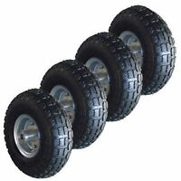 """4 x 10""""Pneumatic Trolley Wheel For Cart Barrow Truck Sack Replacement Tyre Tyres"""