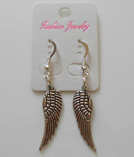 ANGEL WING FASHION EARRINGS SILVER TONE WITH SILVER PLATED FINDINGS