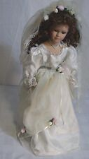 "BRIDE DOLL w/ stand 20"" tall porcelain face hands legs Soft body Very pretty"