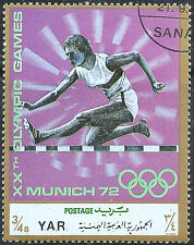 Yemen Stamp - Scott #300b/A79u 3/4b Gold & Multicolored Olympics OG Used/LH 1971