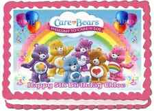 EDIBLE CARE BEARS RAINBOW A4 PERSONALISED BIRTHDAY PARTY ICING CAKE TOPPERS