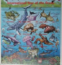 """1998 United Nations """"INTERNATIONAL YEAR OF THE OCEAN"""" sheet of 12 stamps 32c"""