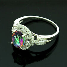 Sterling Silver Cubic Zirconia Micro Pave Set Mystic Topaz Ring Size R