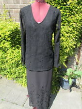 BNWT-POMODORO-DESIGNER SILKY BLACK LONG SKIRT & TOP-EMBROIDERED & BEADED-12/14