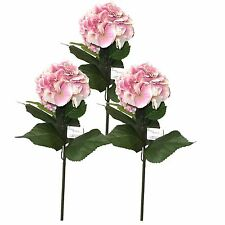 Set of 3 60cm Artificial Hydrangea Flower Stem - Pink Spring and Summer Flowers