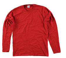 Men's Big & Tall Unbranded Cotton  Long Sleeve Crew Neck Tee Shirt 5X Red