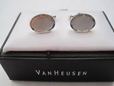 New VanHeusen Cufflinks, Brushed Silver-Tone w/ Gold-Tone Accents, $52 Retail
