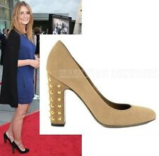 GUCCI SHOES LIGHT BROWN SUEDE JACQUELYNE STUDDED HIGH HEEL PUMPS 39.5 / 9.5